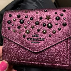 Coach small wallet in metallic mauve 59510 star